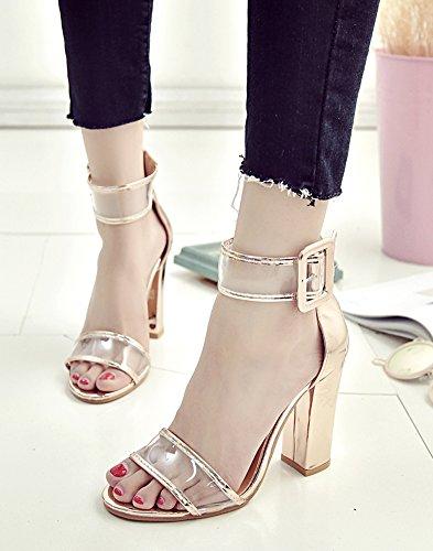 Minetom Mujer Verano Tendencia Elegante Moda Sandalias De Tacón Alto Transparente Correa Hebilla Botón Sandals Zapatos Oro