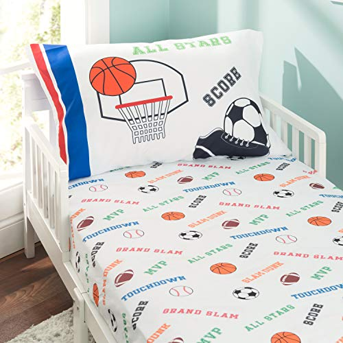 - EVERYDAY KIDS Toddler Fitted Sheet and Pillowcase Set -Varsity Sports: Football, Baseball, Basketball and Soccer- Soft Microfiber, Breathable and Hypoallergenic Toddler Sheet Set