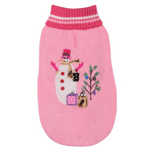 East Side Collection Acrylic Deck The Halls Dog Sweater, Small/Medium, 14-Inch, Pink, My Pet Supplies
