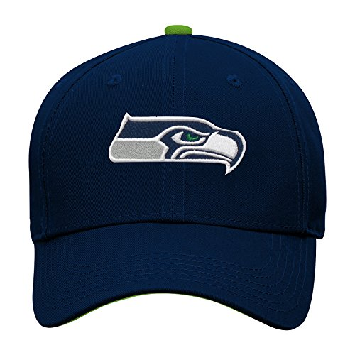 NFL by Outerstuff NFL Seattle Seahawks Youth Boys Basic Structured Adjustable Hat Dark Navy, Youth One Size