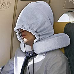 For Airplane Sleeping Hoodie Travel Pillows Memory Foam U Shaped Neck Pillow - Washable, Detachable, with Carry Bag (Grey)