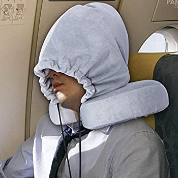Travel Neck Pillows with Hoop Cap Detachable Memory Foam Velour Material with Carry Bag (Grey)