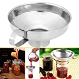 Canning Funnel - Stainless Steel Jam Funnel for Mason Jar with Handle for Regular and Wide Mouth Jars Metal Large Kitchen Food Funnels (L)