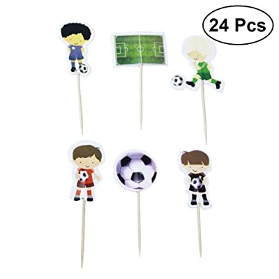 BESTOYARD 24 unids de Dibujos Animados Jugar Fútbol Cake Toppers Sport Boys Party Toppers de la Magdalena Selecciones Niños Cumpleaños Fiesta Familiar Suministros de Decoración: Juguetes y juegos