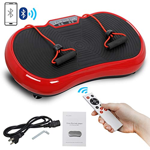 SUPER DEAL Crazy Work Out Fit Full Body Vibration Platform Massage Machine Fitness W/Bluetooth Red (Best Exercise Machine For Cellulite)