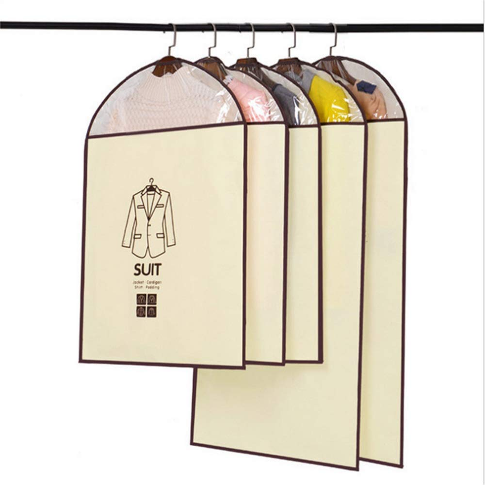 KSUNSEVEN Suit Dress Outer Coat Garment Bag Covers Storage Bag Set Pack of 5Pcs for Suit Carriers Storage Or Travel with Clear Window