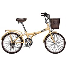 DIOKO 20 inches Cruiser Folding Bike with basket Pistache - Ivory