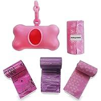 ZIZOO Kit Dispensador de Bolsas para Heces con Repuestos para Collar (Rosa)