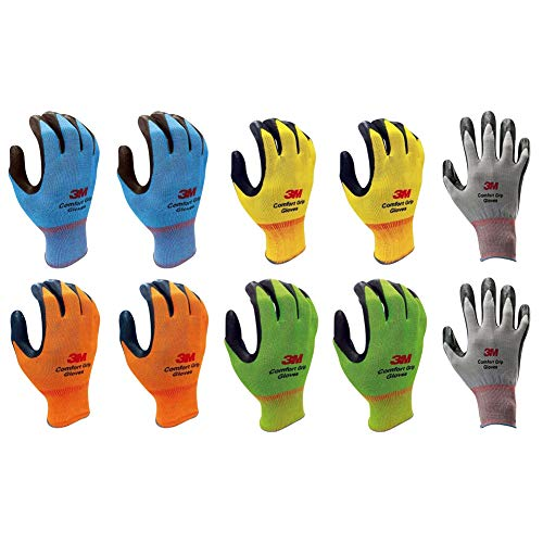 3M Lightweight Nitrile Foam Coated Best Work Gloves, Washable_Smart Touch 10 Pairs Pack (Large, 5 Colors (B,Y,O,G,G)) - Foam Nitrile Gloves