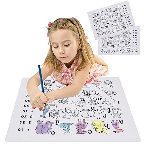 2PCS Estera de dibujo para colorear de mantel infantil, silicona para el Doodle educativo Graffiti Mat, Alfabeto de patron de animales de alfabeto, lavable reutilizable para comedor Mesa de cocina