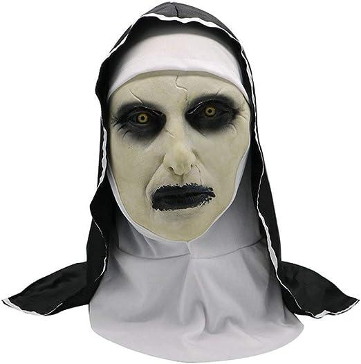 FUPOA Disfraz de Terror Monja Máscara Ropa de Halloween Scary ...