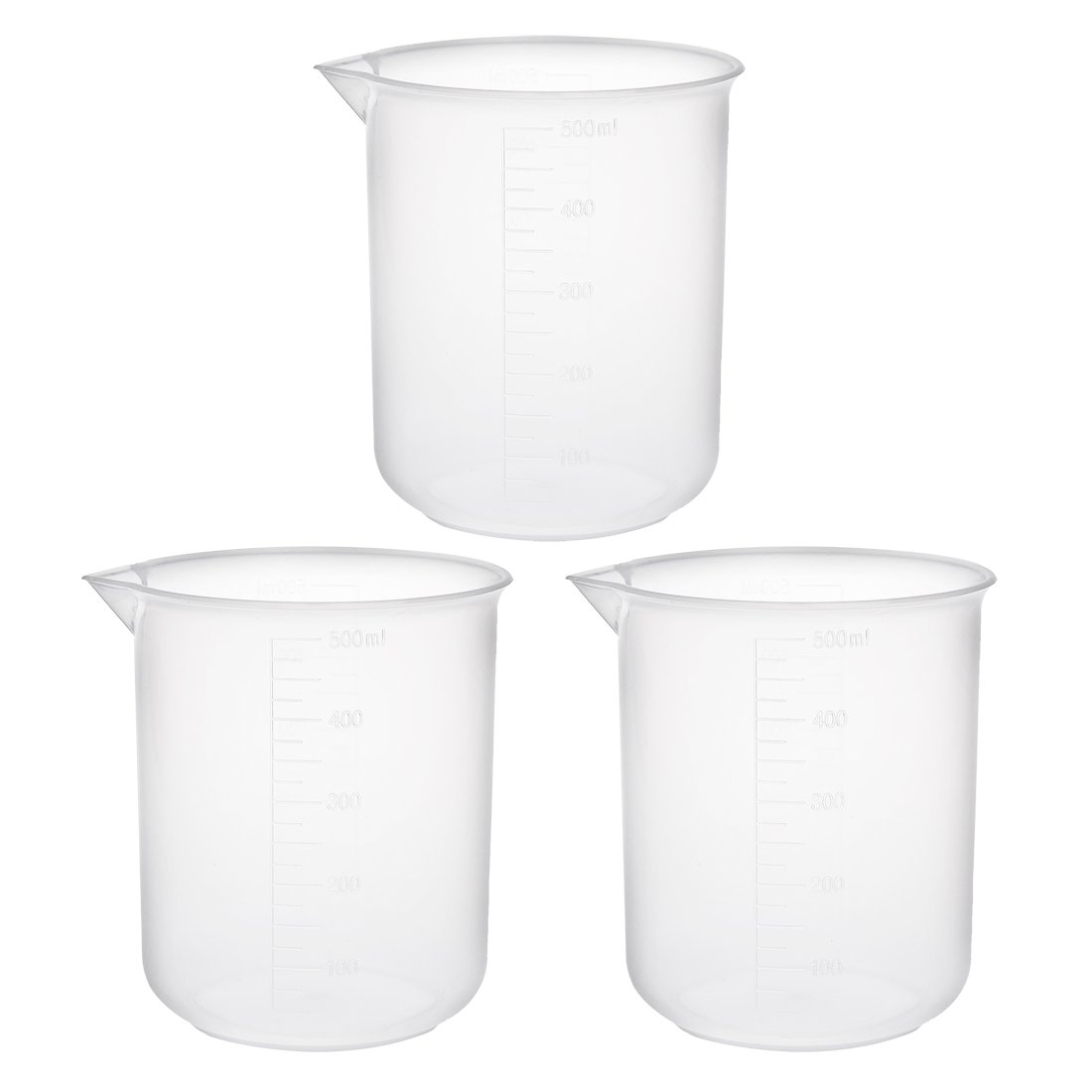 sourcingmap 3pcs Measuring Cup Labs PP Graduated Beakers 100ml a18031400ux0059