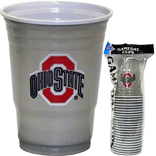 NCAA Plastic Game Day Cups, Ohio State Buckeyes,18-Ounce, Sleeve of 18 cups