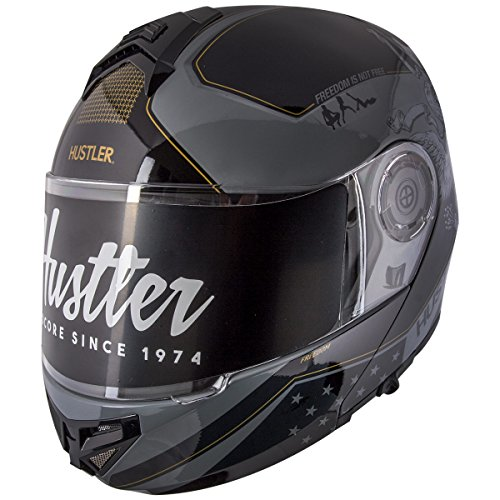 (Hustler HT-65 Freedom Eagle Gloss Black and Gray Modular Motorcycle Helmet with - Large)