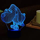 Tons 3D Lamp Illusion Animals Shape Acrylic Table Night Light for Boys cool Birthday Gift Colorful 7 Colors With USB Touch (Cute Dog)