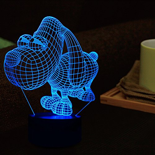 Tons 3D Lamp Illusion Animals Shape Acrylic Table Night Light for Boys cool Birthday Gift Colorful 7 Colors With USB Touch (Cute Dog) by Tons