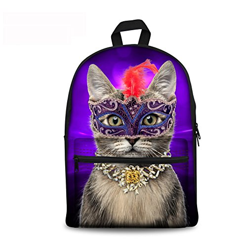 GAGAFEEL Colorful Cute Cat Canvas Backpack Lightweight 3D Animals Print Casual Laptop School Bag for Girls Kids (Purple cat) (5550 Print)