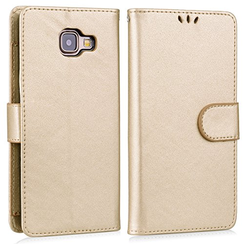 Codream Samsung Galaxy A5 (2016) A510 Case Cover, Phone Case Slim PU Anti-Scratch Wallet Case [Card Pocket] Protective Shell Armor Hybrid Shockproof Rubber Bumper Cover with Card Slot Holder - Golden