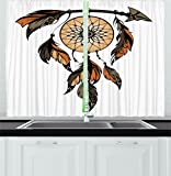 Cheap Ambesonne Ethnic Kitchen Curtains, Native American Dreamcatcher Tribal Spiritual Feathers Image, Window Drapes 2 Panels Set for Kitchen Cafe, 55W X 39L Inches, Charcoal Grey Ginger Light Brown