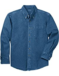 "<span class=""a-offscreen"">[Sponsored]</span>Mens Long Sleeve Heavyweight Denim Shirts XS-4XL"