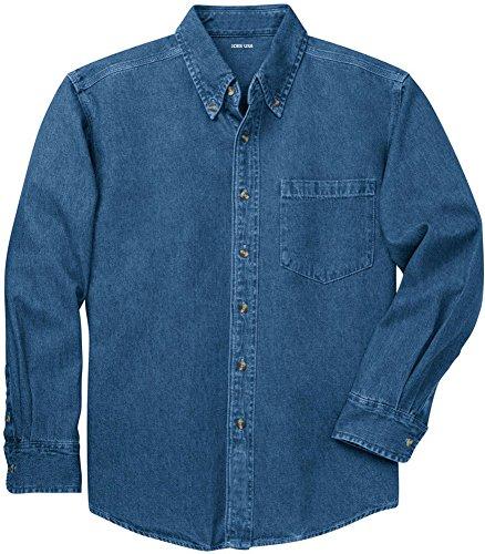 Joe's USA(tm) Mens Long Sleeve Heavyweight Denim Shirt-Dark.Blue-L - Heavyweight Stonewashed Denim