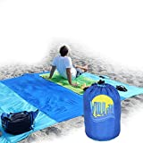 Villar Huge 9 x 8 Outdoor Compact Picnic/Beach Blanket - Strong Water Resistant Ripstop Nylon - Sand Free Best for Picnic, Camping, Hiking, More - 6 Anchor Pockets+