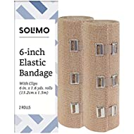"Amazon Brand - Solimo Elastic Bandage with Clips, 6"" x 5' Roll (2 Pack)"