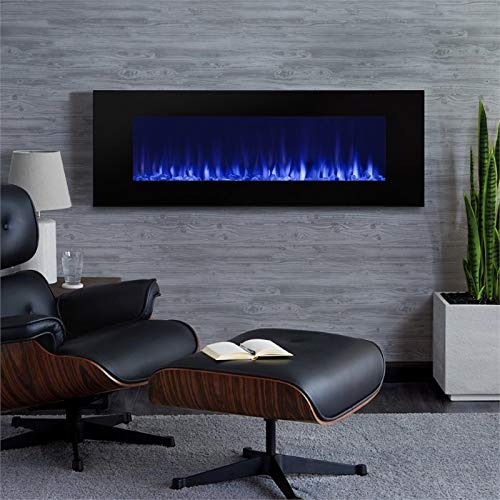 Real Flame DiNatale Wall-Hung Electric Fireplace, Black