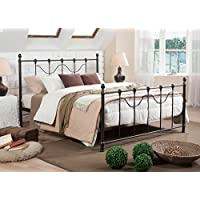 Baxton Studio Jessie Shabby Chic Antique Iron Metal Platform Bed, Full, Dark Bronze