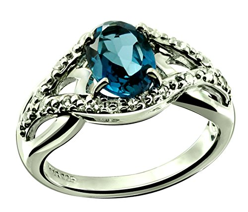 (RB Gems Sterling Silver 925 Ring Genuine Gemstone Oval 8x6 mm with Rhodium-Plated Finish, Solitaire Style (8, London-Blue-Topaz) )