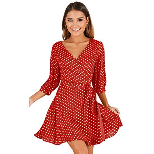 di sexy Mezza Abiti Donna stampa punto Vestitini Onda Da Donna Eleganti Rosso donna vestito CLOOM Moda Vestiti Partito Cocktail Giorno manica Sera Casuale Da Vestiti Vestito Mini 4fUq7a
