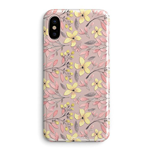 iPhone X Case,Flowers Pink Plants Leaves Succulents Cactus Yellow Daisy Cute Floral Tender Paris Collection Girly Garden Paint Case for Girls Clear Soft Protective Case Compatible for iPhone X/Xs