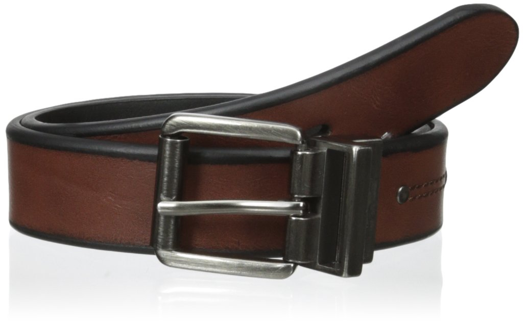 Levi's Boys' 30mm Reversible Beveled Edge Boys Belt with Rivet, Brown/Black, Small