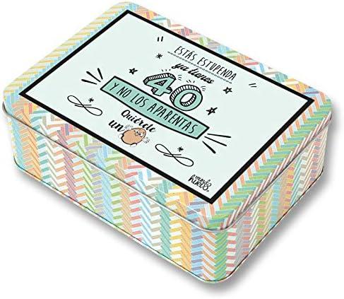 Regalo Mujer 40 años. Pack Caja metálica 18x13x6 cm, Bolsa 35x40 ...