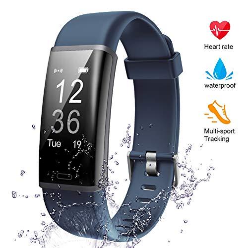 Lintelek Fitness Tracker, Heart Rate Monitor Activity Tracker Sleep Monitor, Measuring Calories Step Counter IP67 Waterproof Smart Watch Wearable Device for Men Women Kid Android iOS Veryfitpro (Navy)