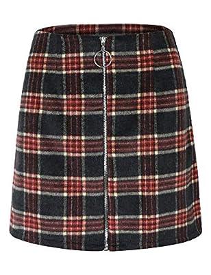 makeitmint Women's Plaid Trendy Front O Ring Zipper Down A-Line Mini Skirt