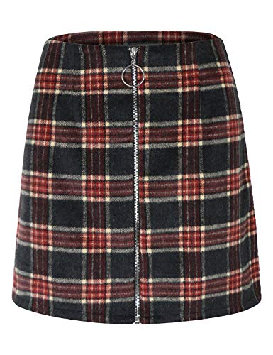 - makeitmint Women's Plaid Trendy Front O Ring Zipper Down A-Line Mini Skirt YBSK0026-GRAY-LRG