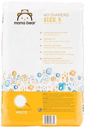 Large Product Image of Amazon Brand - Mama Bear Diapers Size 3, 160 Count, White Print (4 packs of 40)