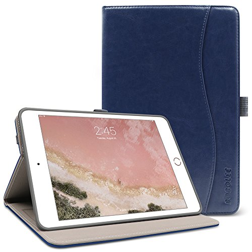 iPad Mini 1/2/3 Case,BOBOLEE Vintage Folio Flip Leather Case with Stand Feature, Smart Cover Auto Sleep / Wake Function for Apple iPad Mini ,iPad mini 2,iPad mini 3 ,7.9 inch Apple Tablet (Blue)