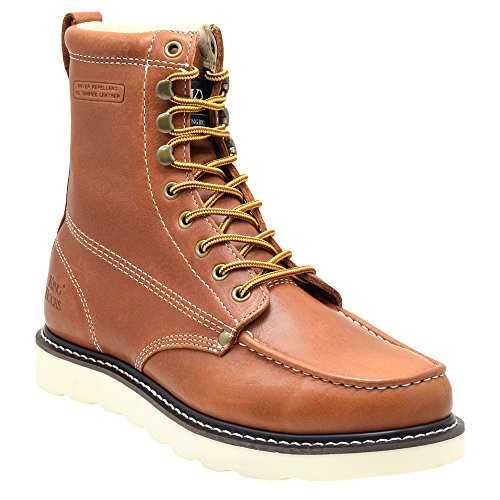 "King Rocks Work Boots 8"" Men's Moc Toe Wedge Comfortable Leather Boot For Work and Construction Size 13 D(M) US, Brun"