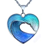 Guy Harvey Heart of The Sea - Sterling Silver and Vitreous Enamel Necklace