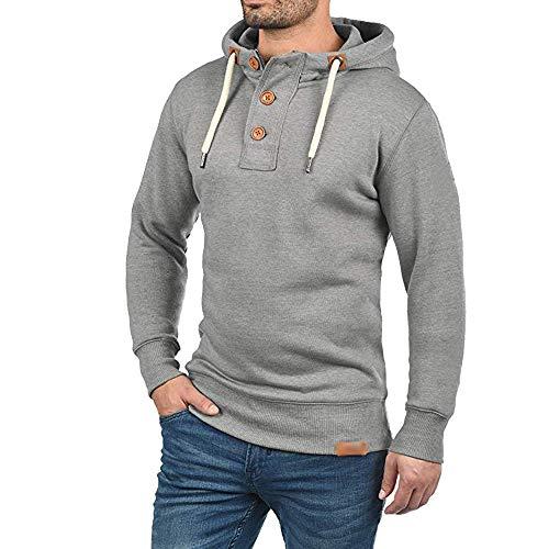 Mens Trip Hoodie Stylish Solid Buckles Sweatshirt Drawstring Pullover by Balakie(Gray,s)
