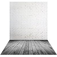 Muzi 5x8ft white brick wall backdrop gray wood background newborn photography background vinyl photography background wood floor drop XT-5477
