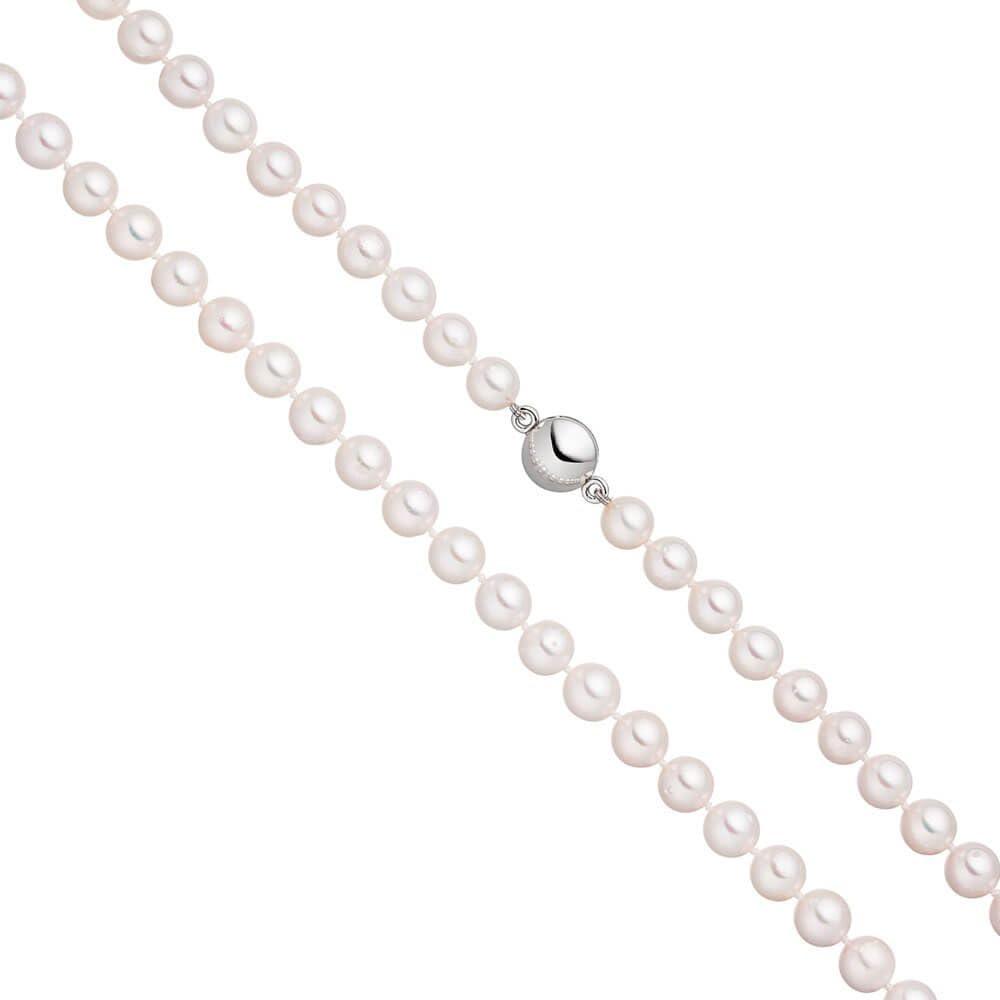 Perla Cadena con 7,5mm Akoya blancas perlas Imán de Cierre de plata 92545cm