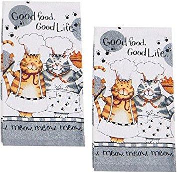 Kay Dee Happy Cat Kitchen Terrycloth Towel, Set of 2,Grey