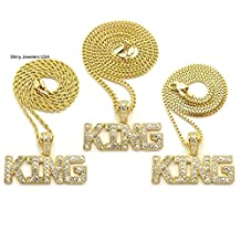 MENS ICED OUT HIP HOP GOLD TONE KING PENDANT ROPE, BOX, CUBAN CHAIN NECKLACE