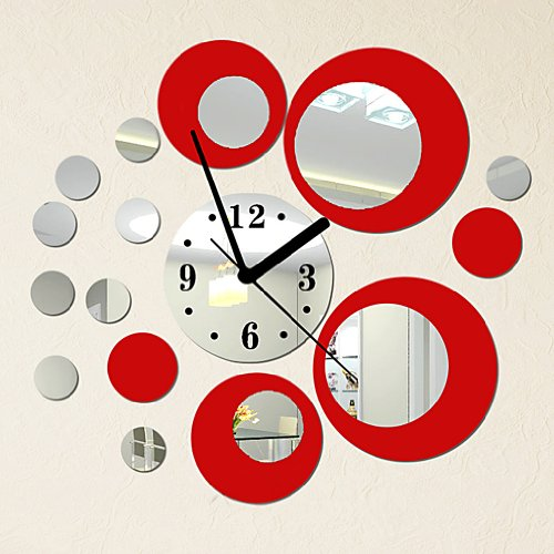 DIY - Do It Yourself New Wall Mirror Clock Made of Acrylic Material Like Mirror, Colored Circles, Modern Design for Home Living Room Bedroom Kitchen Baby Child Novelty Luxury Crystal Wall Silent Watch Extra Large Clocks