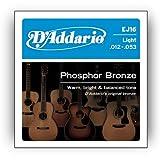 D\'Addario EJ16 Phosphor Bronze Acoustic Guitar Strings, Light