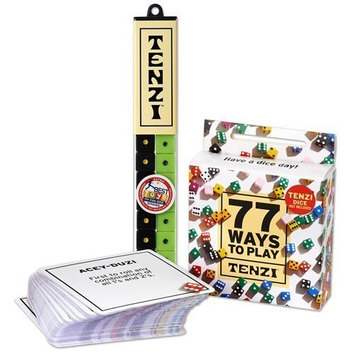 TENZI Dice Party Game with 77 Ways to Play - 4 Sets of 10 Colored Dice with 77 Card Game Add-On (Colors May Vary)