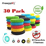 Prepared4x Mosquito Repellent Bracelet Safe For Infants, Kids, Adults & Pets - Spray & Deet Free, Natural Bug Repellent, Waterproof Travel Wristband, 30 Resealable Pack, INCLUDES 5 Repellent Pendants